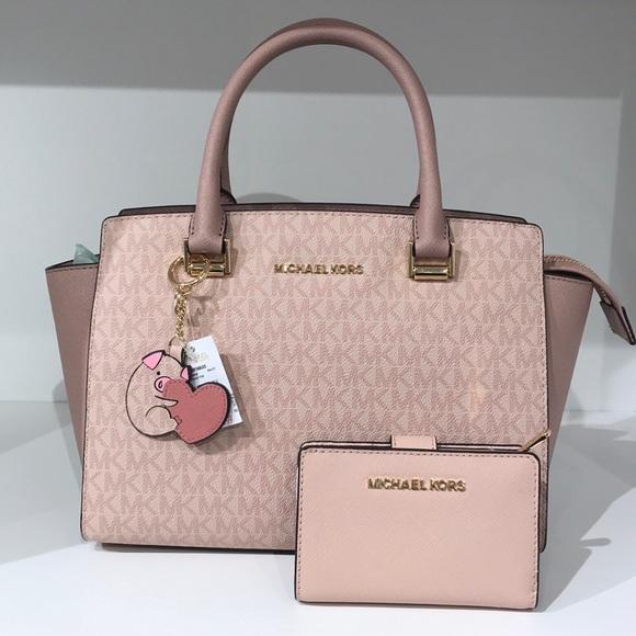 1fbeeac8371c Michael Kors Bags | 3 Pc Selma Set Bag Pig Charm Wallet | Poshmark